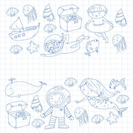Mer et océan aventure Maternelle, école maternelle, écoliers Parc aquatique pour enfants. Sous-marin. Sirène, poulpe, poissons, baleine, coquillages, méduses. Trésors perdus. Scaphandre autonome. Navire pirate. Plongée, plongée en apnée Banque d'images - 94703585