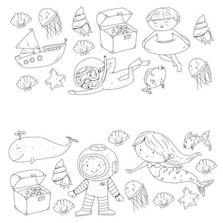 Meer und Ozean Abenteuer Kindergarten Vorschulkinder Kinder Kinder leben Unterwasser Polka Marshmallows Steine ? ? machen Fische Spinner Camping jagen Glück Spinner Tauchen Schnorcheln Standard-Bild - 94690049