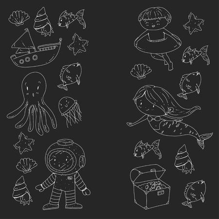 Mer et océan aventure Maternelle, école maternelle, écoliers Parc aquatique pour enfants. Sous-marin. Sirène, poulpe, poissons, baleine, coquillages, méduses. Trésors perdus. Scaphandre autonome. Navire pirate. Plongée, plongée en apnée Banque d'images - 94703581