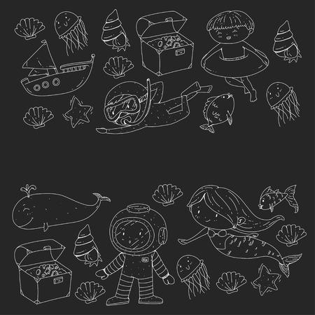 Mer et océan aventure Maternelle, école maternelle, écoliers Parc aquatique pour enfants. Sous-marin. Sirène, poulpe, poissons, baleine, coquillages, méduses. Trésors perdus. Scaphandre autonome. Navire pirate. Plongée, plongée en apnée Banque d'images - 94703583