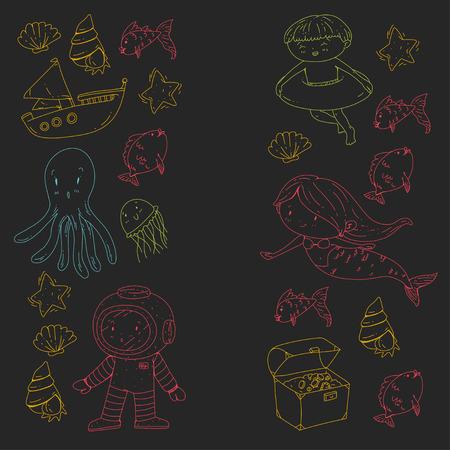 Mer et océan aventure Maternelle, école maternelle, écoliers Parc aquatique pour enfants. Sous-marin. Sirène, poulpe, poissons, baleine, coquillages, méduses. Trésors perdus. Scaphandre autonome. Navire pirate. Plongée, plongée en apnée Banque d'images - 94703748