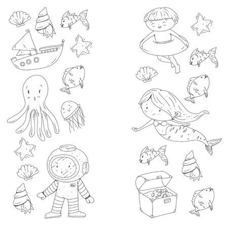 Sea and ocean adventure Kindergarten, preschool, school children. Kids aquapark. Underwater. Mermaid, octopus, fishes, whale, shells, jelly fish. Lost treasures. Scuba. Pirate ship. Diving, snorkeling Banco de Imagens - 94703749
