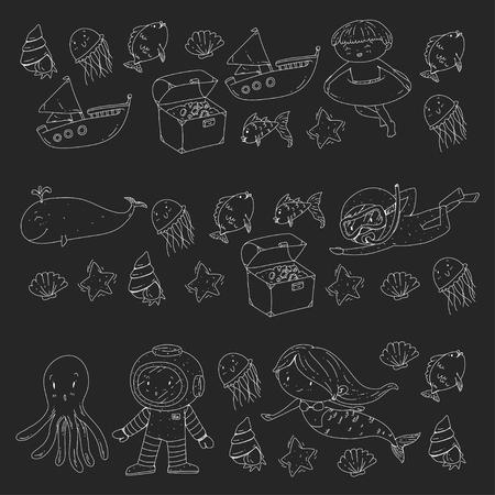Mer et océan aventure Maternelle, école maternelle, écoliers Parc aquatique pour enfants. Sous-marin. Sirène, poulpe, poissons, baleine, coquillages, méduses. Trésors perdus. Scaphandre autonome. Navire pirate. Plongée, plongée en apnée Banque d'images - 94703755