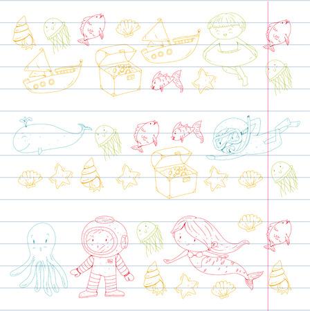 Meer und Ozean Abenteuer Kindergarten Vorschulkinder Kinder Kinder leben Unterwasser Polka Marshmallows Steine ? ? machen Fische Spinner Camping jagen Glück Spinner Tauchen Schnorcheln Standard-Bild - 94692975