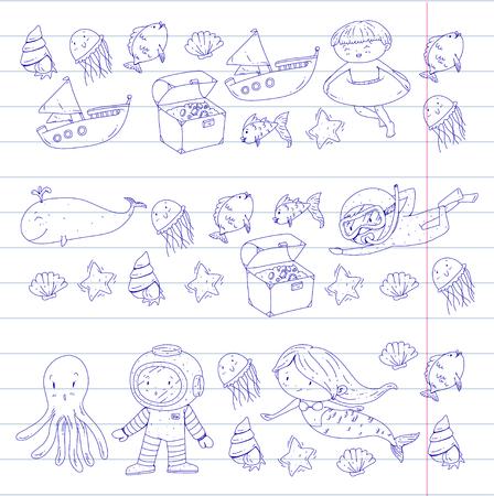 海と海の冒険 幼稚園幼稚園の子供たち キッズアクアパーク水中人魚タコの魚クジラの貝殻ゼリー魚失われた宝物スキューバ海賊船ダイビングシュノ