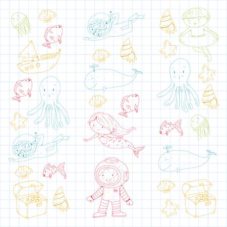 Meer und Ozean Abenteuer Kindergarten Vorschulkinder Kinder Kinder leben Unterwasser Polka Marshmallows Steine ? ? machen Fische Spinner Camping jagen Glück Spinner Tauchen Schnorcheln Standard-Bild - 94690935