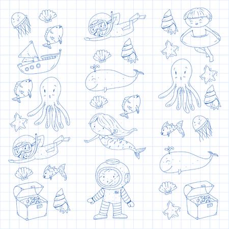 Aventure en mer et océan Ecoles maternelles pour enfants d'âge préscolaire Enfants Aquapark Sous-marins Poisson pieuvre sous-marin Sirène Coquilles de baleine Méduse Trésors perdus Plongée sous-marine Bateau pirate Plongée sous-marine Banque d'images - 94690933