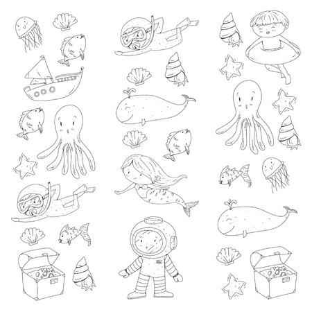Meer und Ozean Abenteuer Kindergarten Vorschulkinder Kinder Kinder leben Unterwasser Polka Marshmallows Steine ? ? machen Fische Spinner Camping jagen Glück Spinner Tauchen Schnorcheln Standard-Bild - 94690934