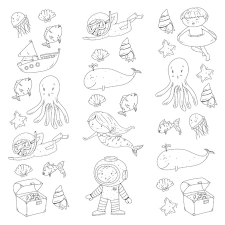 Sea and ocean adventure Kindergarten preschool school children Kids aquapark Underwater Mermaid octopus fishes whale shells jelly fish Lost treasures Scuba Pirate ship Diving snorkeling