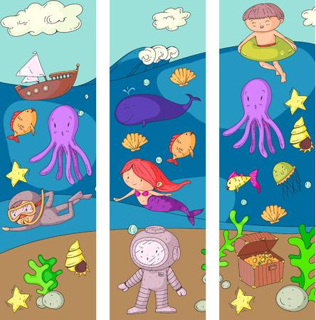 바다와 바다 모험 유치원, 유치원, 학교 아이들. 키즈 아쿠아 파크. 수중. 인어, 문어, 물고기, 고래, 껍질, 젤리. 잃어버린 보물. 스쿠버. 해적선. 다이빙 일러스트