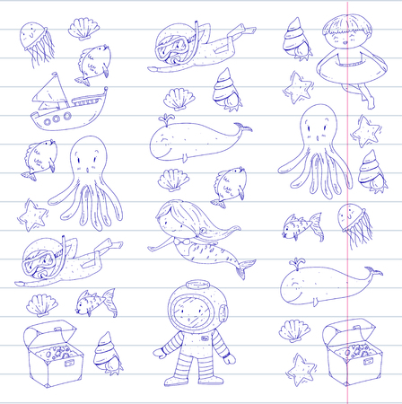 Sea and ocean adventure Kindergarten, preschool, school children. Kids aquapark. Underwater. Mermaid, octopus, fishes, whale, shells, jelly fish. Lost treasures. Scuba. Pirate ship. Diving, snorkeling Banco de Imagens - 94703763