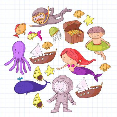Mer et océan aventure Maternelle, école maternelle, écoliers Parc aquatique pour enfants. Sous-marin. Sirène, poulpe, poissons, baleine, coquillages, méduses. Trésors perdus. Scaphandre autonome. Navire pirate. Plongée, plongée en apnée Banque d'images - 94703765