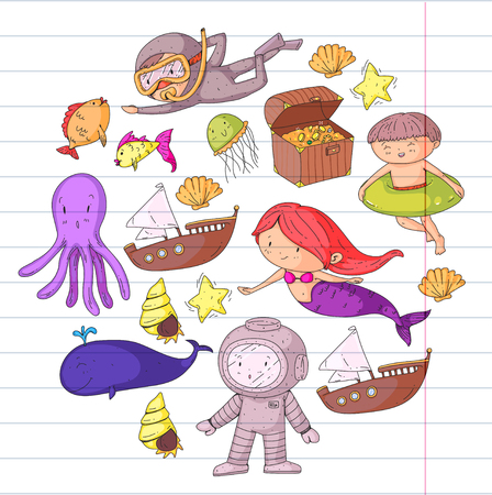 Mer et océan aventure Maternelle, école maternelle, écoliers Parc aquatique pour enfants. Sous-marin. Sirène, poulpe, poissons, baleine, coquillages, méduses. Trésors perdus. Scaphandre autonome. Navire pirate. Plongée, plongée en apnée Banque d'images - 94703766