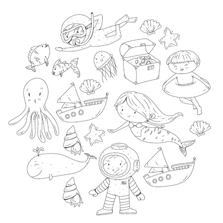 Sea and ocean adventure Kindergarten, preschool, school children. Kids aquapark. Underwater. Mermaid, octopus, fishes, whale, shells, jelly fish. Lost treasures. Scuba. Pirate ship. Diving, snorkeling Banco de Imagens - 94703806