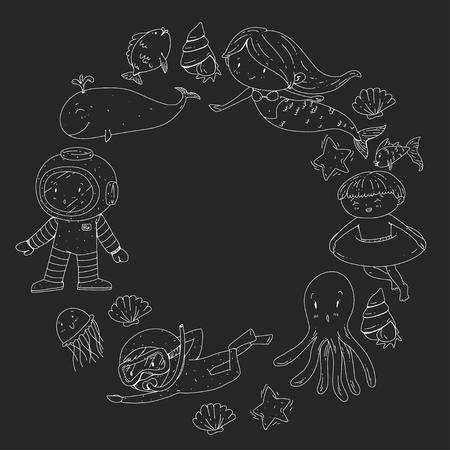 Mer et océan aventure Maternelle, école maternelle, écoliers Parc aquatique pour enfants. Sous-marin. Sirène, poulpe, poissons, baleine, coquillages, méduses. Trésors perdus. Scaphandre autonome. Navire pirate. Plongée, plongée en apnée Banque d'images - 94703816
