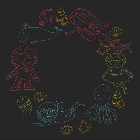 Mer et océan aventure Maternelle, école maternelle, écoliers Parc aquatique pour enfants. Sous-marin. Sirène, poulpe, poissons, baleine, coquillages, méduses. Trésors perdus. Scaphandre autonome. Navire pirate. Plongée, plongée en apnée Banque d'images - 94703817
