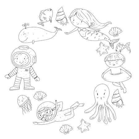 Mer et océan aventure Maternelle, école maternelle, écoliers Parc aquatique pour enfants. Sous-marin. Sirène, poulpe, poissons, baleine, coquillages, méduses. Trésors perdus. Scaphandre autonome. Navire pirate. Plongée, plongée en apnée Banque d'images - 94703821