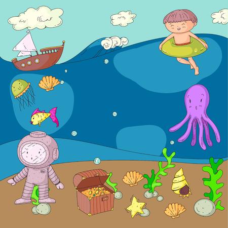 Zee- en oceaanavontuur Kleuterschool, kleuterschool, schoolkinderen. Aquapark voor kinderen. Onderwater. Zeemeermin, octopus, vissen, walvissen, schelpen, kwallen. Verloren schatten. Scuba. Piratenschip. Duiken, snorkelen Stock Illustratie