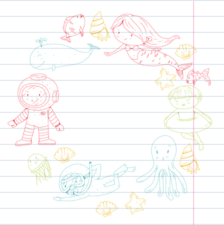 Sea and ocean adventure Kindergarten, preschool, school children. Kids aquapark. Underwater. Mermaid, octopus, fishes, whale, shells, jelly fish. Lost treasures. Scuba. Pirate ship. Diving, snorkeling