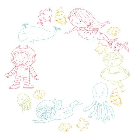 海と海の冒険幼稚園、幼稚園、学校の子供たち。キッズアクアパーク。水中。人魚、タコ、魚、クジラ、貝殻、ゼリーフィッシュ。失われた宝物。  イラスト・ベクター素材
