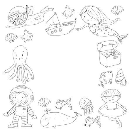 Mer et océan aventure Maternelle, école maternelle, écoliers Parc aquatique pour enfants. Sous-marin. Sirène, poulpe, poissons, baleine, coquillages, méduses. Trésors perdus. Scaphandre autonome. Navire pirate. Plongée, plongée en apnée Banque d'images - 94703844