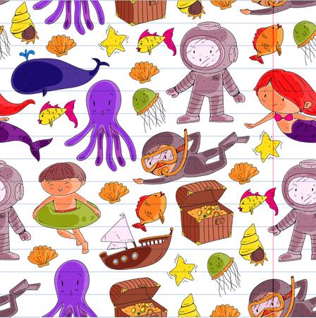 바다와 바다 모험 유치원, 유치원, 학교 아이들. 키즈 아쿠아 파크.