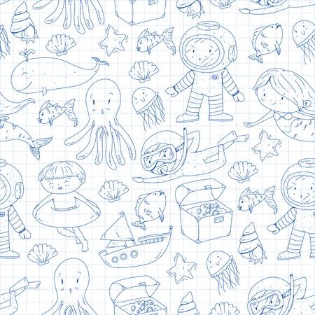 Sea and ocean adventure Kindergarten, preschool, school children. Kids aquapark. Illustration