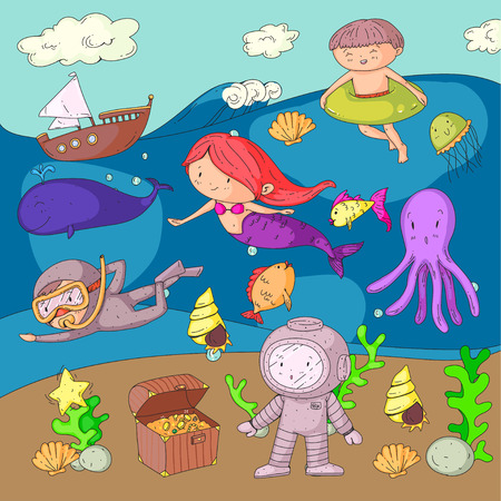 Sea and ocean adventure Kindergarten, preschool, school children. Kids aqua park.