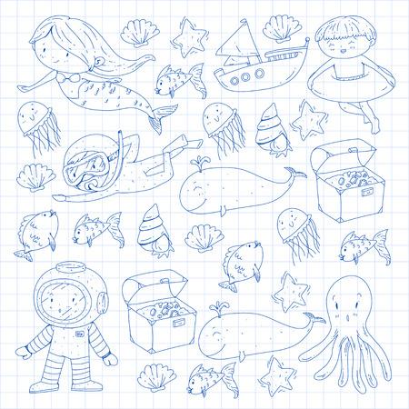 Mer et océan aventure Maternelle, école maternelle, écoliers Parc aquatique pour enfants. Sous-marin. Sirène, poulpe, poissons, baleine, coquillages, méduses. Trésors perdus. Scaphandre autonome. Navire pirate. Plongée, plongée en apnée Banque d'images - 94703854