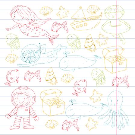Mer et océan aventure Maternelle, école maternelle, écoliers Parc aquatique pour enfants. Sous-marin. Sirène, poulpe, poissons, baleine, coquillages, méduses. Trésors perdus. Scaphandre autonome. Navire pirate. Plongée, plongée en apnée Banque d'images - 94703857