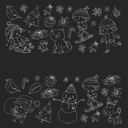 Merry Christmas celebration with children. Kids drawing illustration with ski, gifts, Santa Claus, snowman. Boys and girls play and have fun. School and kindergarten, preschool children.