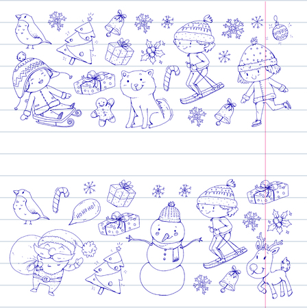 Merry Christmas celebration with children. Kids drawing illustration with ski, gifts, Santa Claus, snowman. Boys and girls play and have fun. School and kindergarten, preschool children Illustration