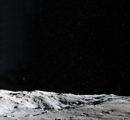 Maan oppervlak. Realistische 3d geeft van maan en ruimte terug. Ruimte en planeet. Satelliet. Nebula. Sterren.