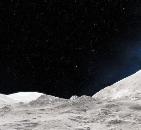 Superficie lunare. Rendering 3d realistica di luna e spazio. Spazio e pianeta. Satellitare. Nebulosa. Stelle. Archivio Fotografico - 94823512
