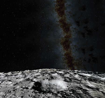 Moon surface. Realistic 3d render of moon and space. Space and planet. Satellite. Nebula. Stars.