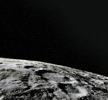 月面。月と空間のリアルな3Dレンダリング。宇宙と惑星衛星。星雲。星。 写真素材