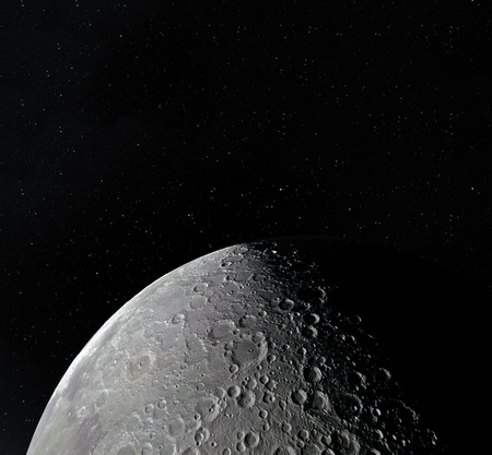 Moon surface. Realistic 3d render of moon and space. Space and planet. Satellite. Nebula. Stars. Stock fotó - 94824732