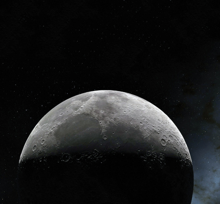 Moon surface. Realistic 3d render of moon and space. Space and planet. Satellite. Nebula. Stars. Stock fotó - 94824740