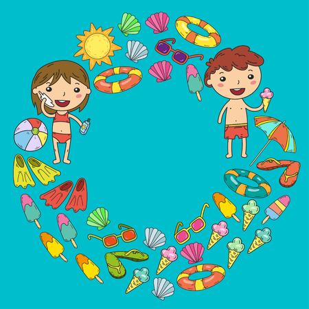 Little children play Summer camp, vacation Kindergarten and preschool kids Play, learn, grow together Sand castle, sunglasses, icecream, sun, ball Boys and girls vector pattern Standard-Bild - 95281625