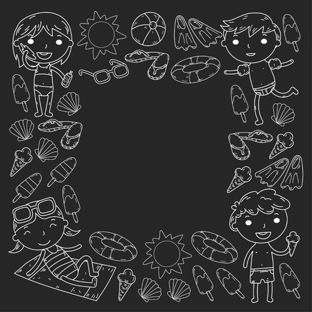Little children play Summer camp, vacation Kindergarten and preschool kids Play, learn, grow together Sand castle, sunglasses, icecream, sun, ball Boys and girls vector pattern Standard-Bild - 95281780
