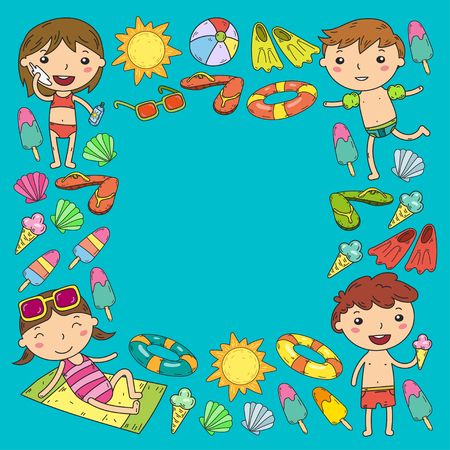 Little children play Summer camp, vacation Kindergarten and preschool kids Play, learn, grow together Sand castle, sunglasses, icecream, sun, ball Boys and girls vector pattern Standard-Bild - 95281788