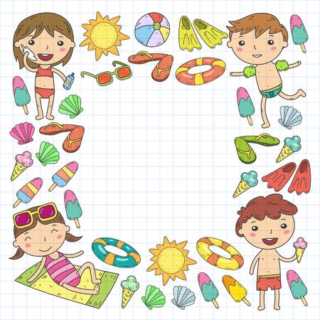 Little children play Summer camp, vacation Kindergarten and preschool kids Play, learn, grow together Sand castle, sunglasses, icecream, sun, ball Boys and girls vector pattern Illustration