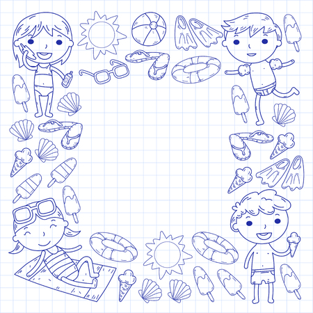 Little children play Summer camp, vacation Kindergarten and preschool kids Play, learn, grow together Sand castle, sunglasses, icecream, sun, ball Boys and girls vector pattern Standard-Bild - 95282214
