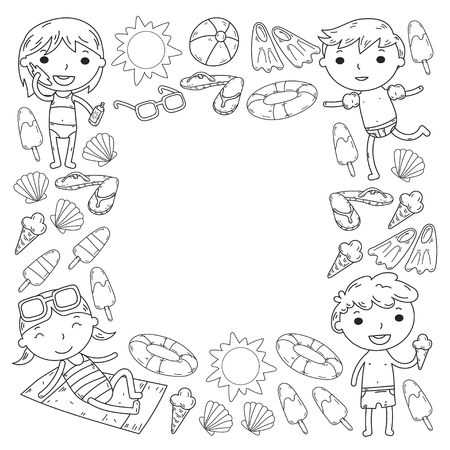 Little children play Summer camp, vacation Kindergarten and preschool kids Play, learn, grow together Sand castle, sunglasses, icecream, sun, ball Boys and girls vector pattern Standard-Bild - 95282235