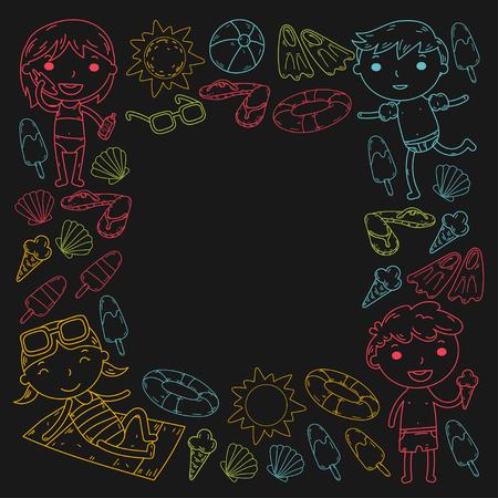 Little children play Summer camp, vacation Kindergarten and preschool kids Play, learn, grow together Sand castle, sunglasses, icecream, sun, ball Boys and girls vector pattern Standard-Bild - 95282288