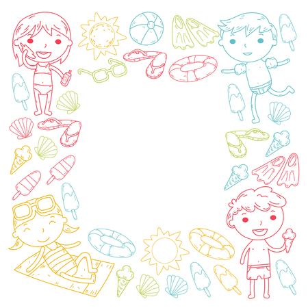 Little children play Summer camp, vacation Kindergarten and preschool kids Play, learn, grow together Sand castle, sunglasses, icecream, sun, ball Boys and girls vector pattern Standard-Bild - 95282307