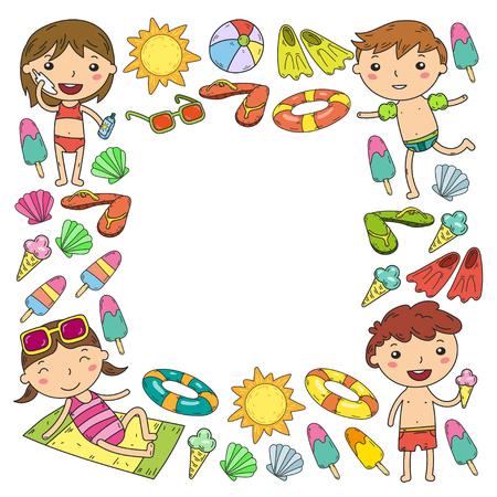 Little children play Summer camp, vacation Kindergarten and preschool kids Play, learn, grow together Sand castle, sunglasses, icecream, sun, ball Boys and girls vector pattern Standard-Bild - 95282313