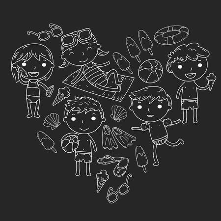 Little children play Summer camp, vacation Kindergarten and preschool kids Play, learn, grow together Sand castle, sunglasses, icecream, sun, ball Boys and girls vector pattern Standard-Bild - 95282342
