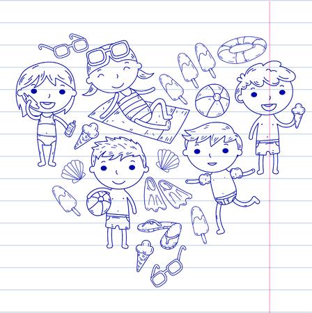 Little children play Summer camp, vacation Kindergarten and preschool kids Play, learn, grow together Sand castle, sunglasses, icecream, sun, ball Boys and girls vector pattern Standard-Bild - 95282436