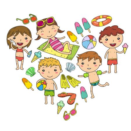 小さな子供たちはサマーキャンプを再生します, 休暇幼稚園や就学前の子供プレイ, 学ぶ, 一緒に成長サンド城, サングラス, アイスクリーム, 太陽, ボ  イラスト・ベクター素材